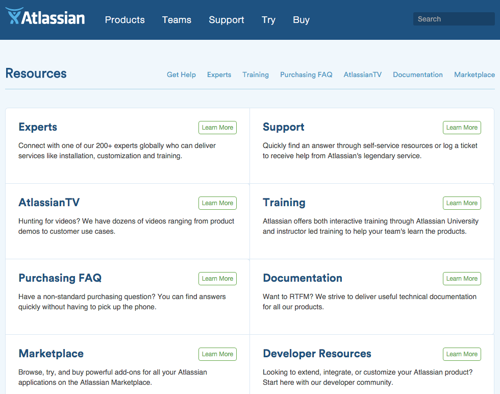 Atlassian self service resources