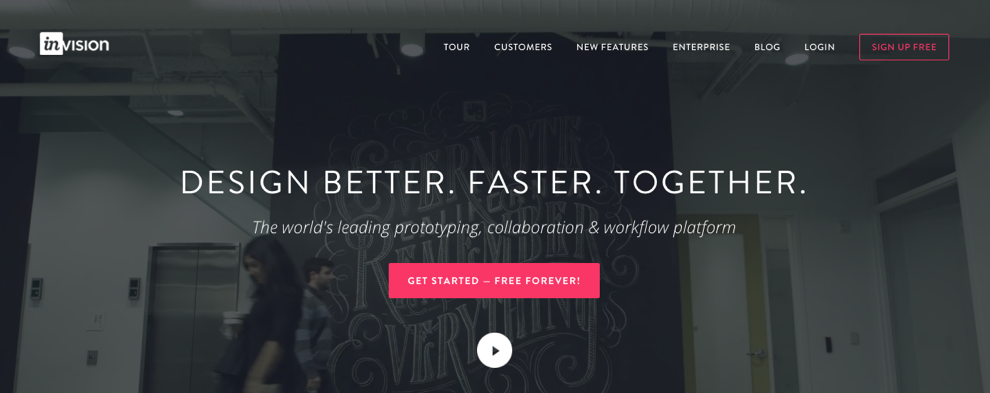 invision home page saas ux