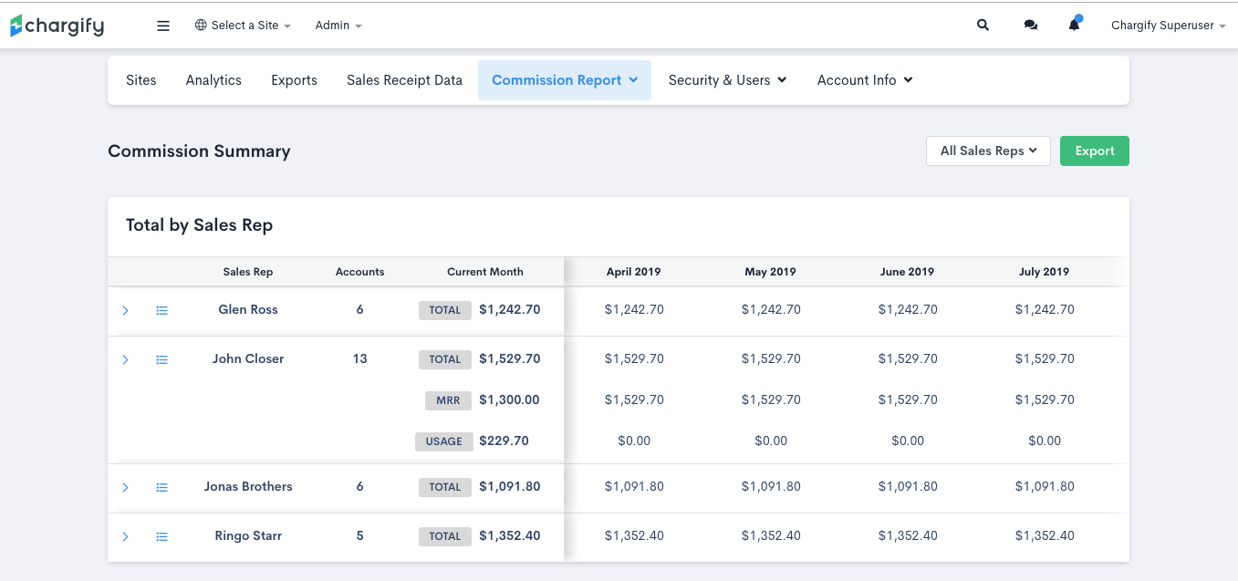 Screenshot of Chargify's Sales Commission Calculator tool